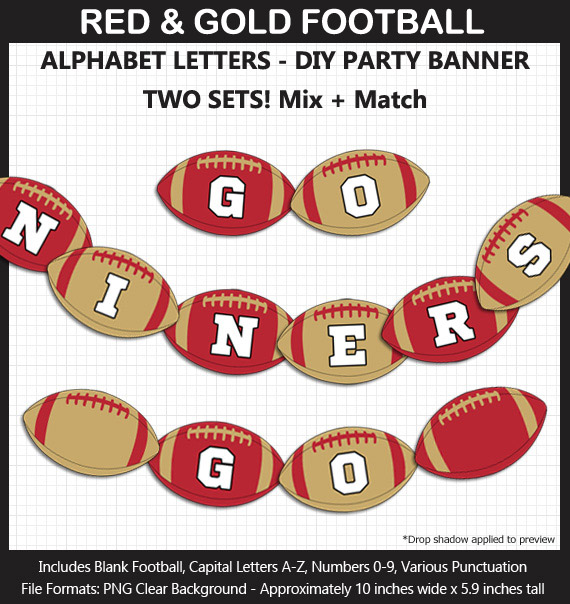 Printable San Francisco 49ers-Inspired Football Party Banner Letters - DIY Niners Party Banner