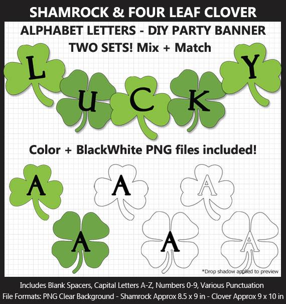 Printable Shamrock Four Leaf Clover Alphabet Banner Letters - DIY St. Patrick's Day Party Banner
