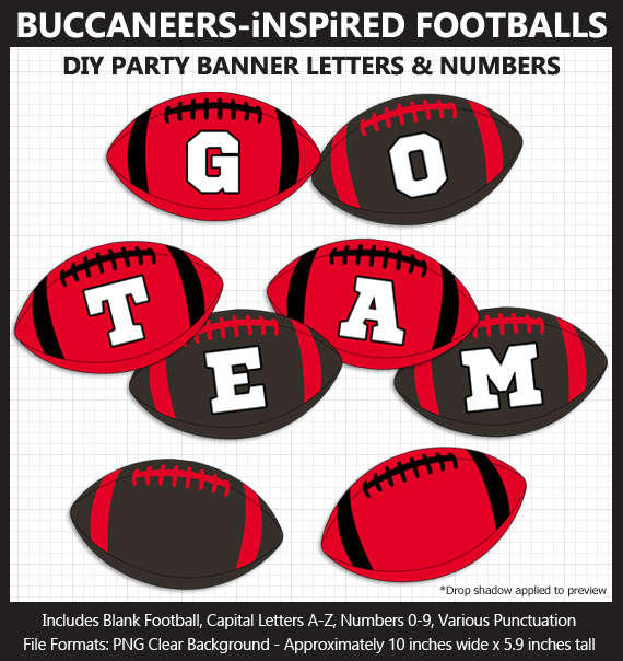 Printable Tampa Bay Buccaneers-Inspired Football Party Banner Letters - DIY Buccaneers Party Banner