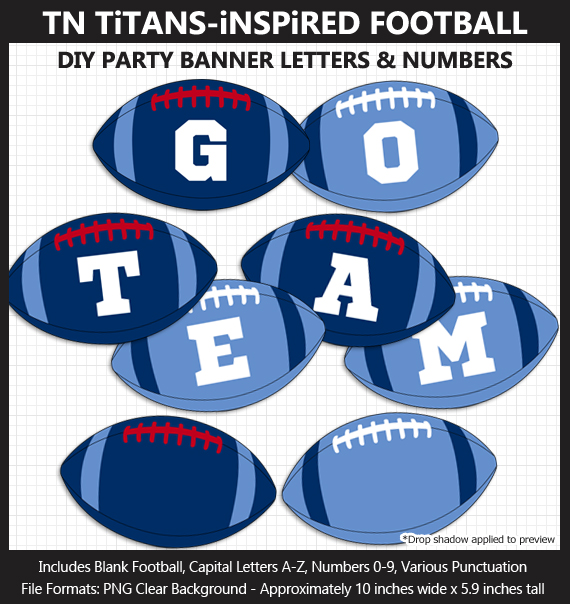 Printable Tennessee Titans-Inspired Football Party Banner Letters - DIY Titans Party Banner