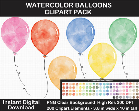 Watercolor Balloons Clip Art Pack - Large 10 Inches - 100 Rainbow Colors