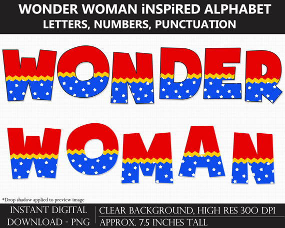 Printable Wonder Woman-Inspired Alphabet Letters, Numbers, Punctuation - DIY Wonder Woman Party Banner