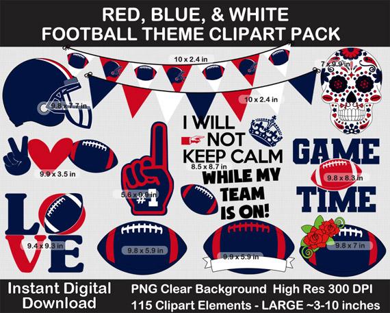 Red, Blue, White Football Theme Clip Art Pack