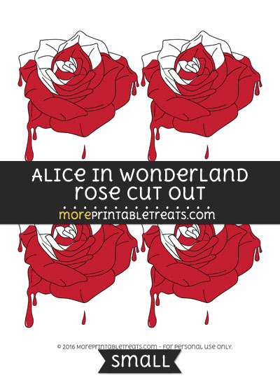 Free Alice In Wonderland Half Painted Rose Cut Out -Small