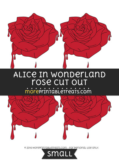Free Alice In Wonderland Rose Cut Out -Small