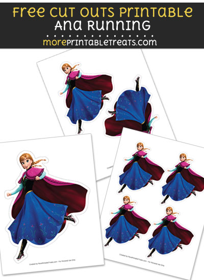 Free Ana Running Cut Out Printable with Dotted Lines - Frozen