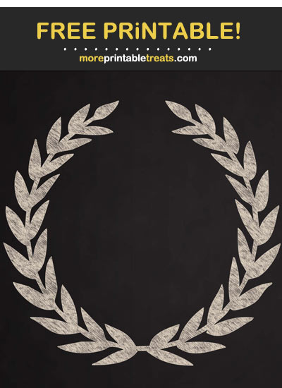 Free Printable Antique White Chalk-Style Laurel Wreath Cut Out