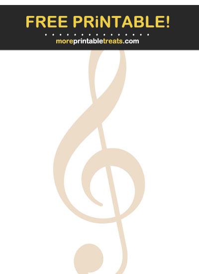 Free Printable Antique White Treble Clef Music Note