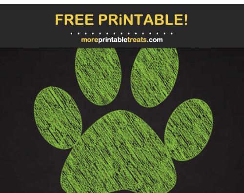 Free Printable Apple Green Chalk Paw Print