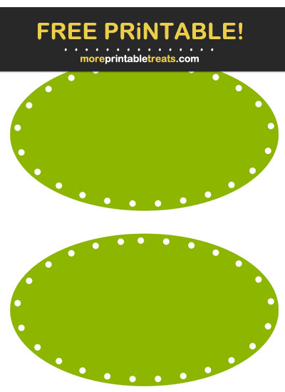 Free Printable Apple Green Dotted Oval Label Cut Out