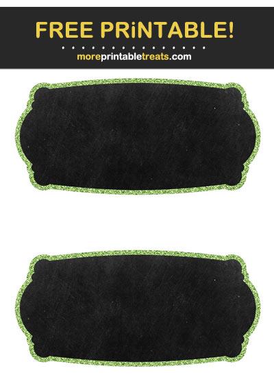 Free Printable Apple Green Glitter Border Chalkboard Labels