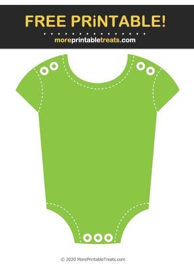 Free Printable Apple Green White-Stitched Baby Onesie Cut Out