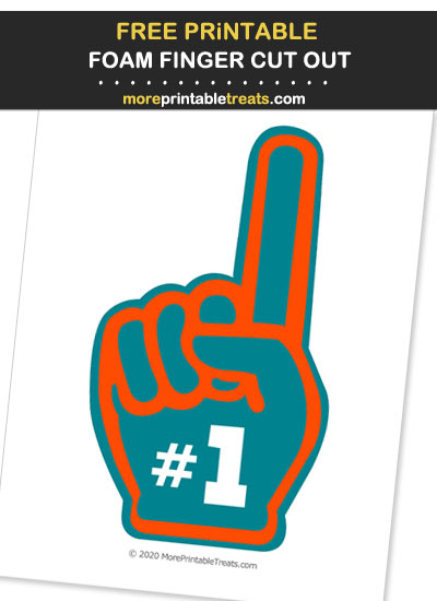 Free Printable Aqua, Orange, and White Foam Finger Cut Out for Football Parties - Go Dolphins!