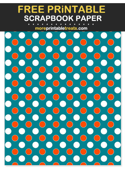 Free Printable Aqua, Orange, and White Polka Dot Scrapbook Paper - For Dolpins Football Fan Crafting!