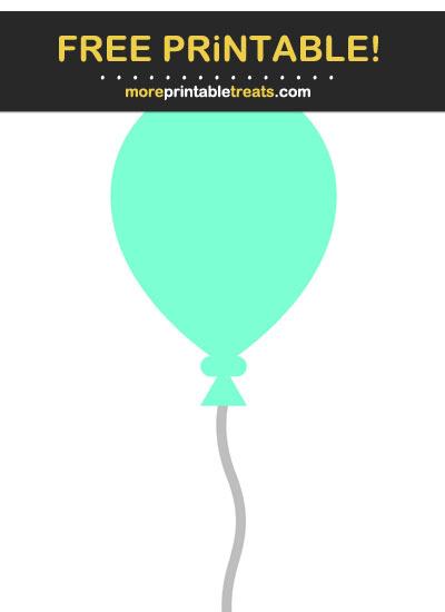 Free Printable Aquamarine Balloon Cut Out