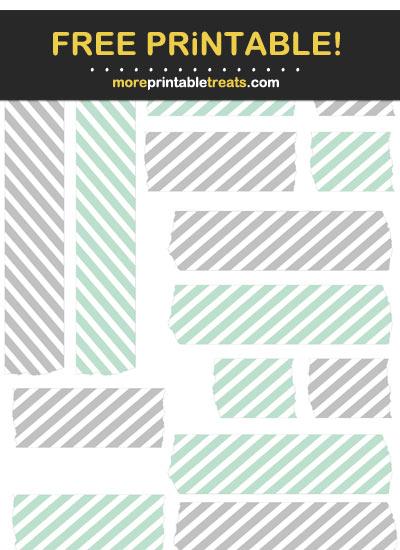 Free Printable Aquamarine and Light Gray Washi Tape
