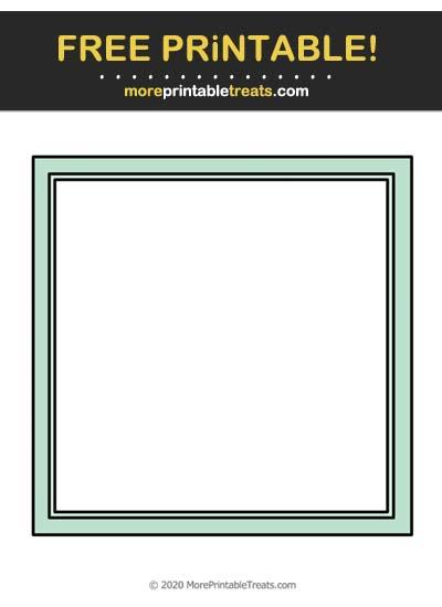 Free Printable Aquamarine Square Frame Cut Out