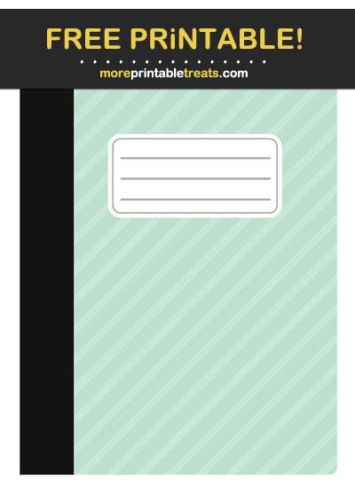 Free Printable Aquamarine Striped School Notebook