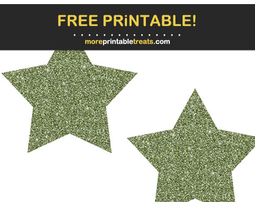 Free Printable Army Green Glittery Stars
