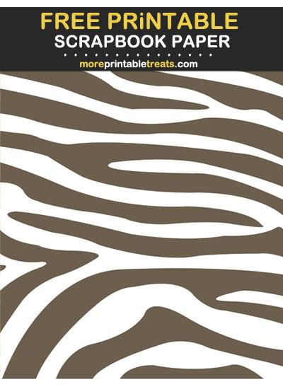 Free Printable Ash Brown Zebra Print Scrapbook Paper
