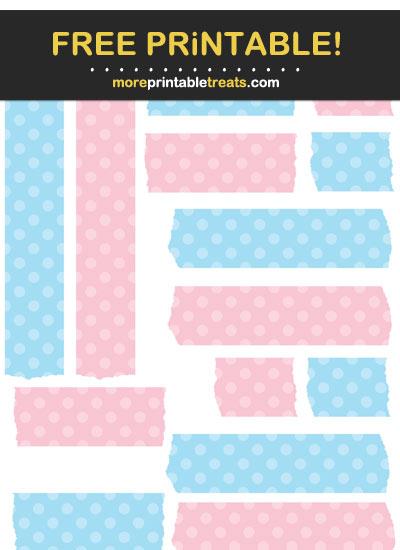Free Printable Baby Blue and Pink Polka Dot Washi Tape
