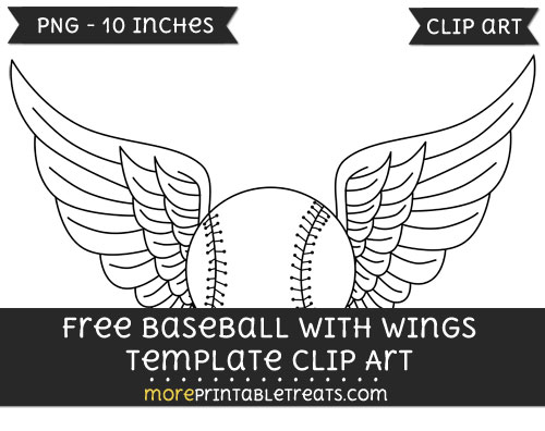 Free Baseball With Wings Template - Clipart