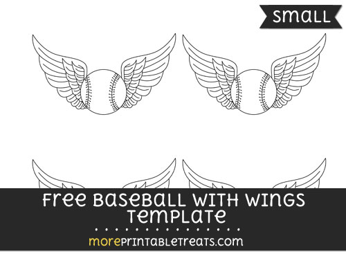 Free Baseball With Wings Template - Small