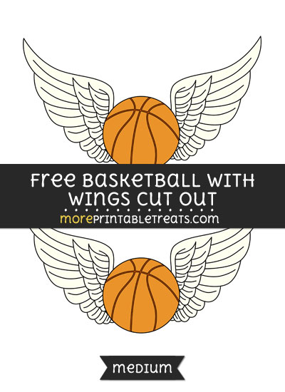 Free Basketball With Wings Cut Out - Medium Size Printable