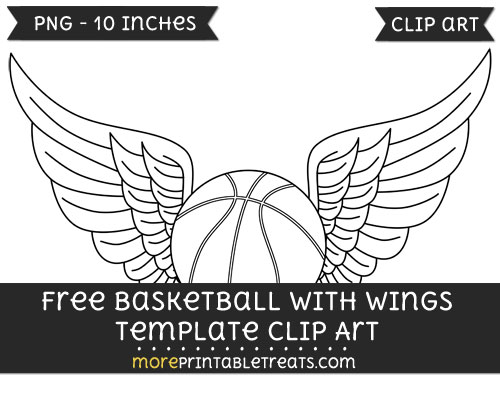 Free Basketball With Wings Template - Clipart
