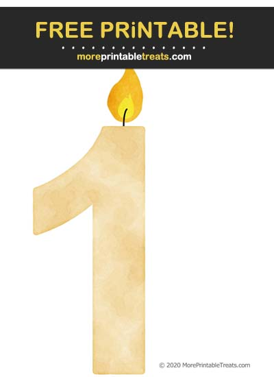 Free Printable Beige Watercolor Birthday Candle Number 1 Cut Out