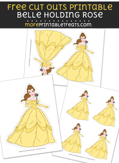 Free Belle Holding Rose Cut Out Printable with Dotted Lines - Beauty and the Beast