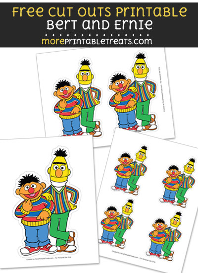 Free Bert and Ernie Cut Out Printable with Dotted Lines - Sesame Street