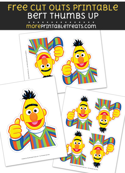 Free Bert Thumbs Up Cut Out Printable with Dotted Lines - Sesame Street