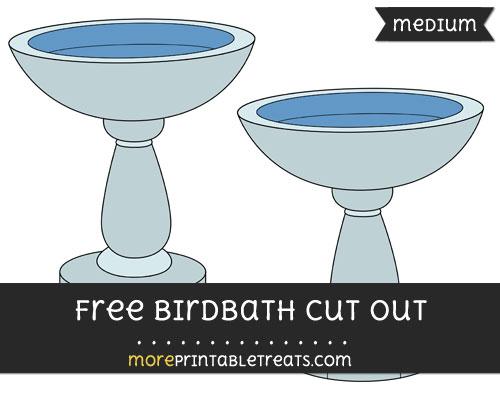Free Birdbath Cut Out - Medium Size Printable