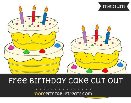 Free Birthday Cake Cut Out - Medium Size Printable