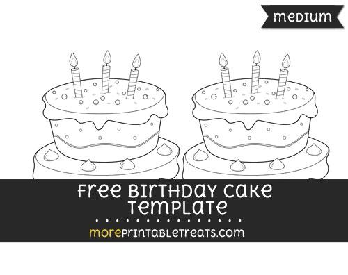 Free Birthday Cake Template - Medium
