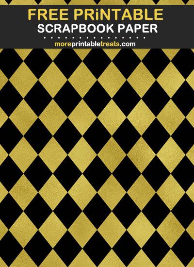Free Printable Black and Gold Foil Scrapbook Paper