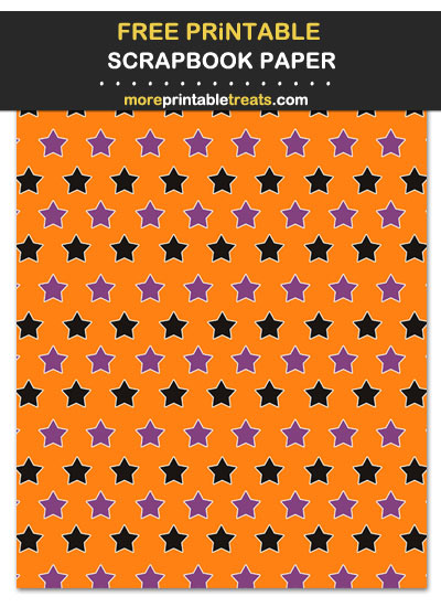 Free Printable Black, Purple, and Orange Stars Scrapbook Paper