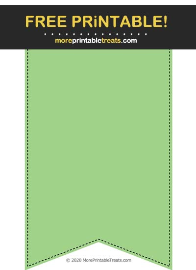 Free Printable Black-Stitched Melon Green Bunting Banner Cut Out