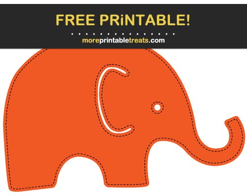 Free Printable Black-Stitched Orange Baby Elephant Cut Out