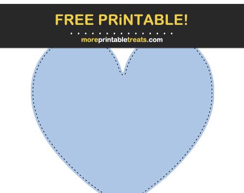 Free Printable Black-Stitched Powder Blue Heart