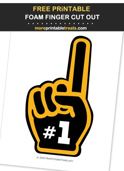Free Printable Black and Yellow Foam Finger Cut Out for Football Parties - Go Steelers!