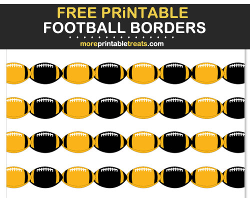 Free Printable Black and Yellow Football Borders for Scrapbooks, Bulletin Boards, and Sign Decorating - Go Steelers!