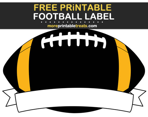 Free Printable Black and Yellow Football Ribbon Label for Signs, Food Labels, Gift Tags - Go Steelers!