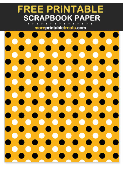 Free Printable Black and Yellow Polka Dot Scrapbook Paper - For Steelers Football Fan Crafting!