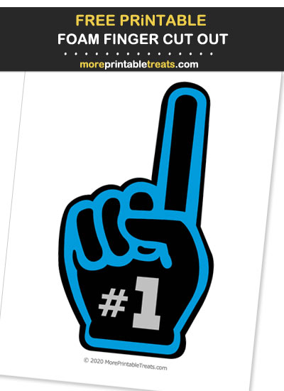 Free Printable Blue, Black, and Silver Foam Finger Cut Out for Football Parties - Go Panthers!