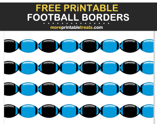 Free Printable Blue, Black, and Silver Football Borders for Scrapbooks, Bulletin Boards, and Sign Decorating - Go Panthers!