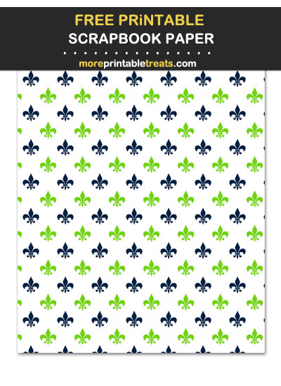 Free Printable Blue and Green Fleur de Lis Scrapbook Paper