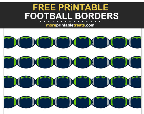 Free Printable Blue, Green, and Gray Football Borders for Scrapbooks, Bulletin Boards, and Sign Decorating - Go Seahawks!