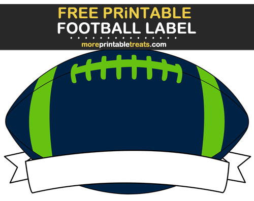 Free Printable Blue, Green, and Gray Football Ribbon Label for Signs, Food Labels, Gift Tags - Go Seahawks!